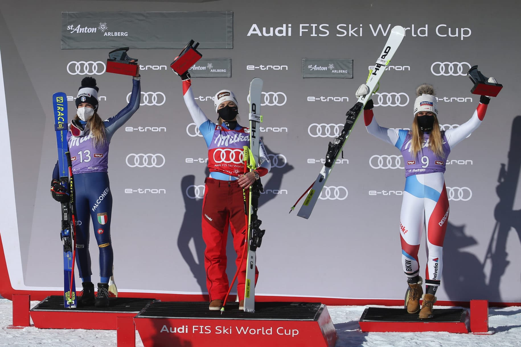 SANKT ANTON,AUSTRIA,10.JAN.21 - ALPINE SKIING - FIS World Cup, Super G, ladies, award ceremony. Image shows the rejoicing of Marta Bassino (ITA), Lara Gut-Behrami and Corinne Suter (SUI). Photo: GEPA pictures/ Daniel Goetzhaber