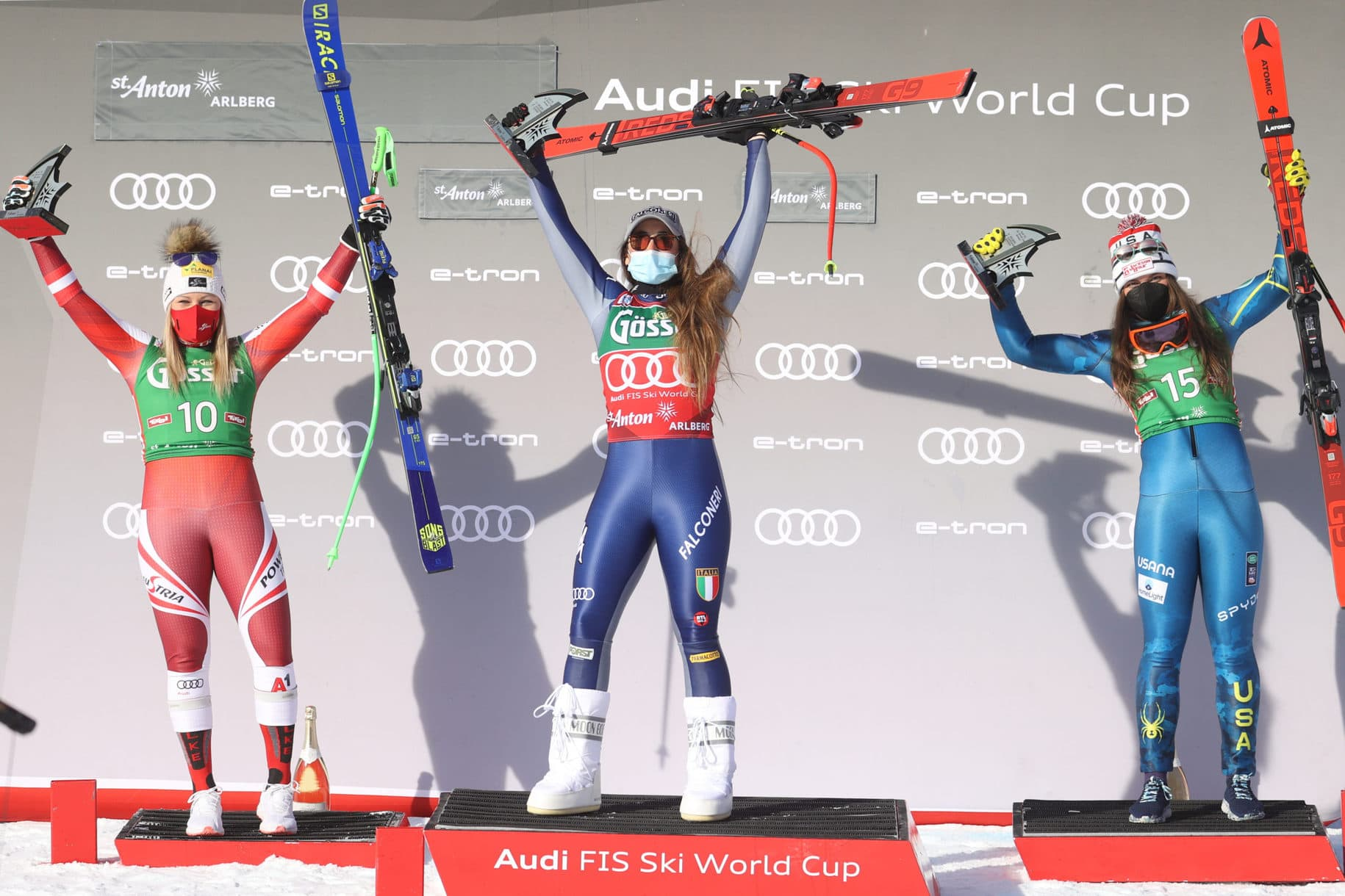 SANKT ANTON,AUSTRIA,09.JAN.21 - ALPINE SKIING - FIS World Cup, downhill, ladies, award ceremony. Image shows Tamara Tippler (AUT), Sofia Goggia (ITA) and Breezy Johnson (USA). Photo: GEPA pictures/ Harald Steiner